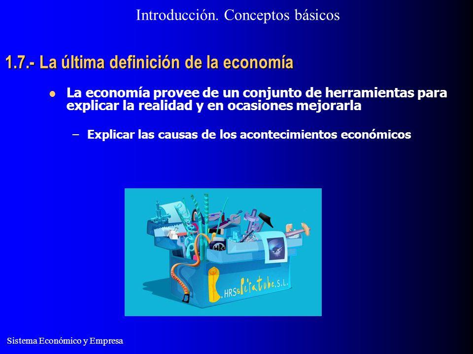 Sistema Económico y Empresa 1.7.- La última definición de la economía Introducción. Conceptos básicos La economía provee de un conjunto de herramienta