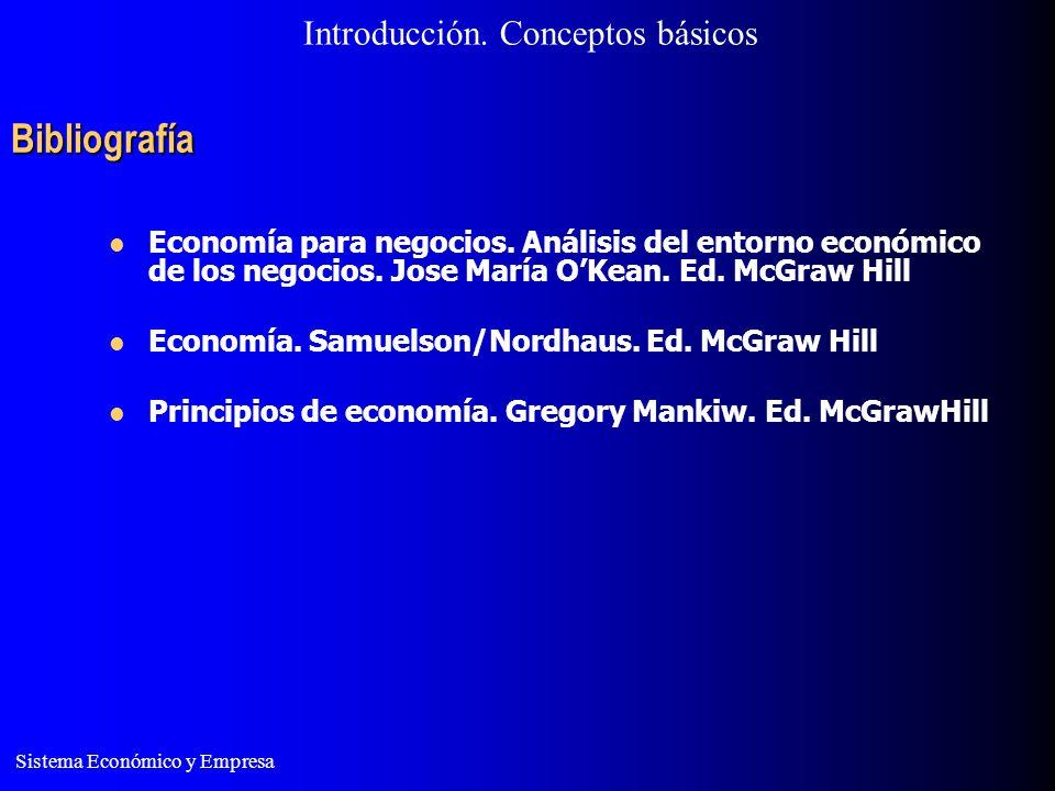 Sistema Económico y Empresa Bibliografía Introducción. Conceptos básicos Economía para negocios. Análisis del entorno económico de los negocios. Jose