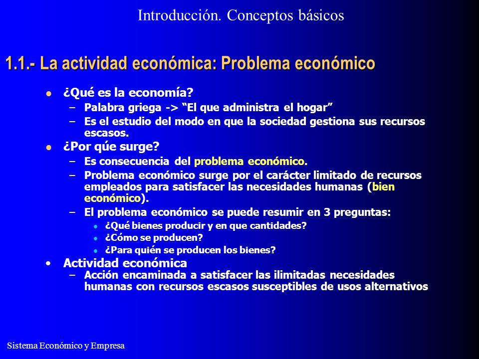 Sistema Económico y Empresa 1.1.- La actividad económica: Problema económico La actividad económica presenta disyuntivas: –Eficiencia: Sacar el mayor provecho posible a los recursos.