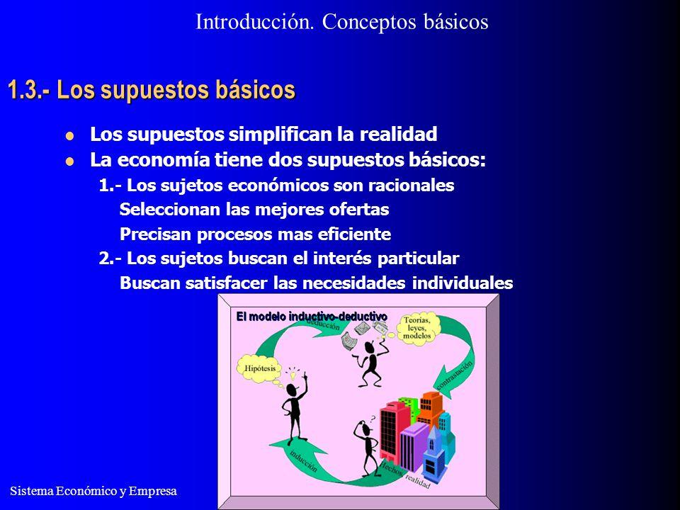 Sistema Económico y Empresa 1.3.- Los supuestos básicos Los supuestos simplifican la realidad La economía tiene dos supuestos básicos: 1.- Los sujetos