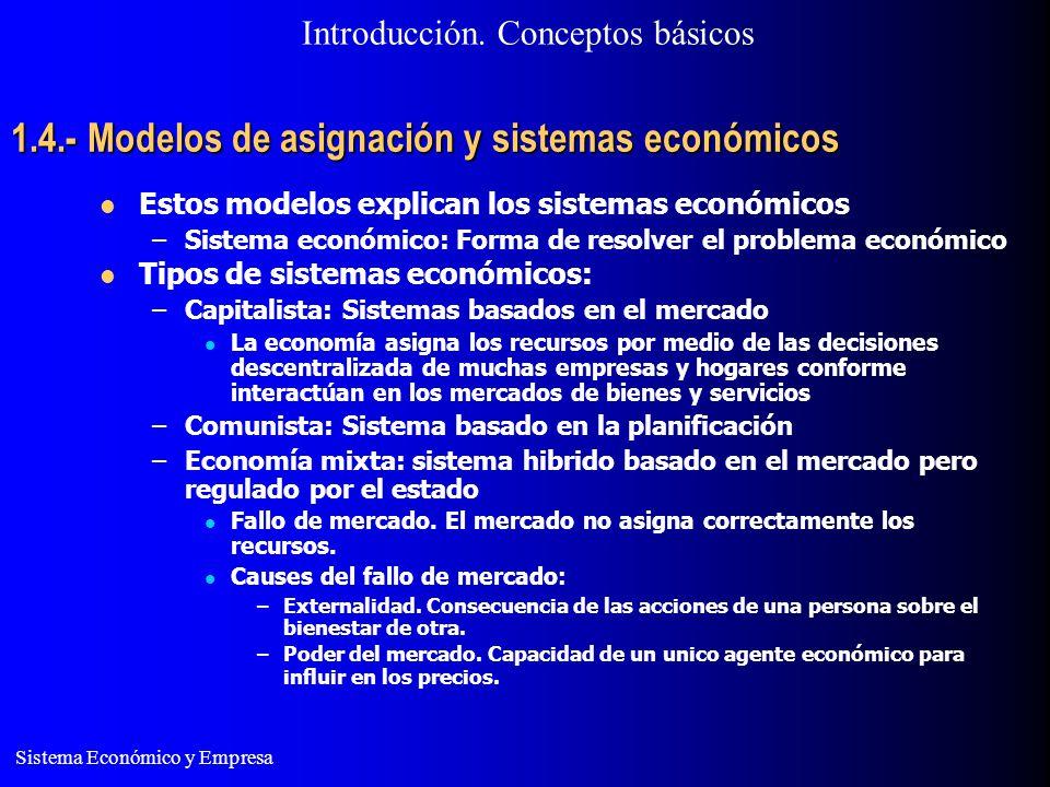 Sistema Económico y Empresa 1.4.- Modelos de asignación y sistemas económicos Estos modelos explican los sistemas económicos –Sistema económico: Forma
