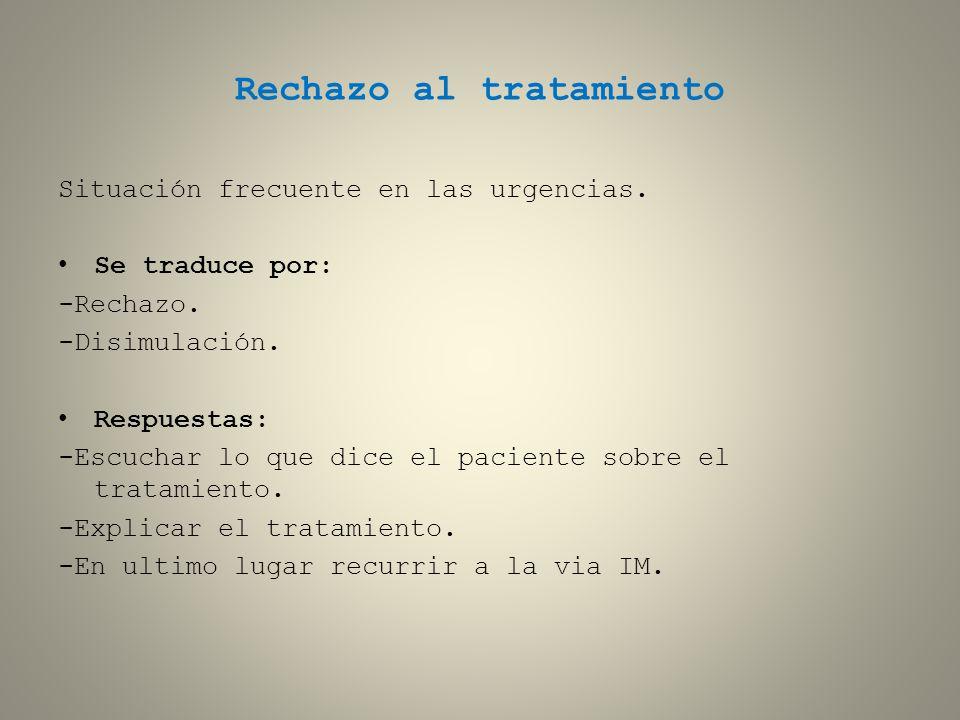 Rechazo al tratamiento Situación frecuente en las urgencias. Se traduce por: -Rechazo. -Disimulación. Respuestas: -Escuchar lo que dice el paciente so