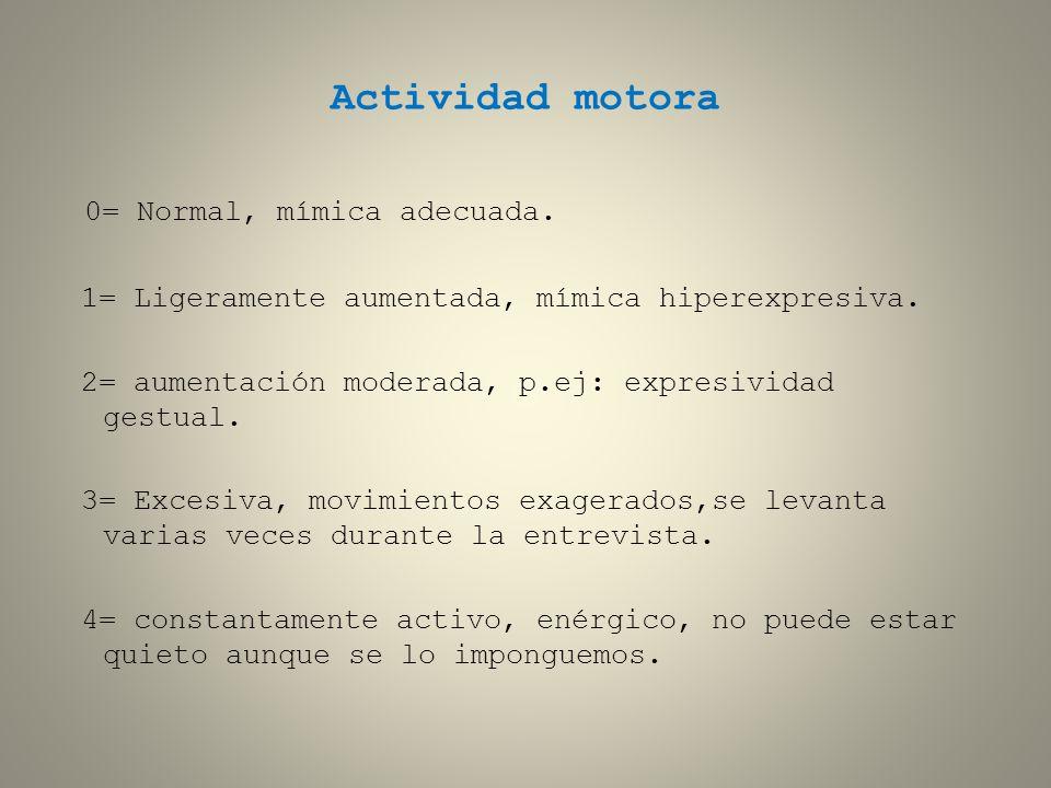 Actividad motora 0= Normal, mímica adecuada. 1= Ligeramente aumentada, mímica hiperexpresiva. 2= aumentación moderada, p.ej: expresividad gestual. 3=