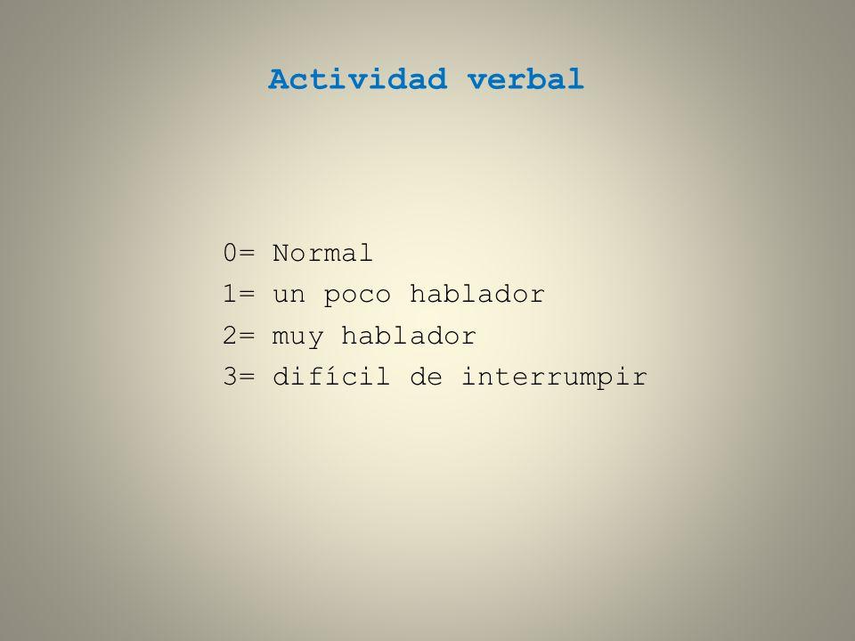 Actividad verbal 0= Normal 1= un poco hablador 2= muy hablador 3= difícil de interrumpir
