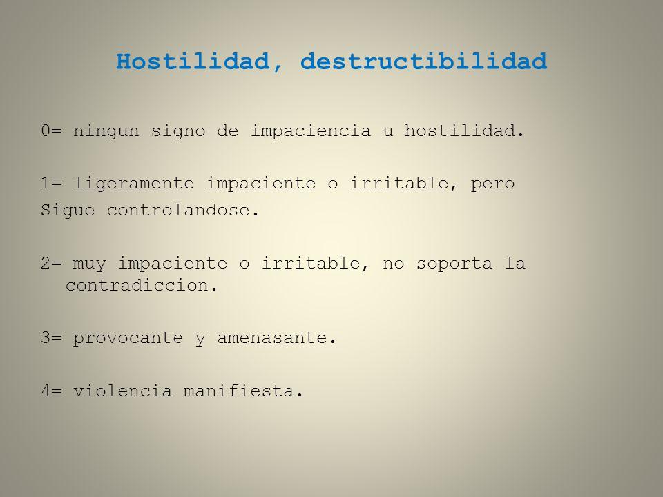 Hostilidad, destructibilidad 0= ningun signo de impaciencia u hostilidad. 1= ligeramente impaciente o irritable, pero Sigue controlandose. 2= muy impa
