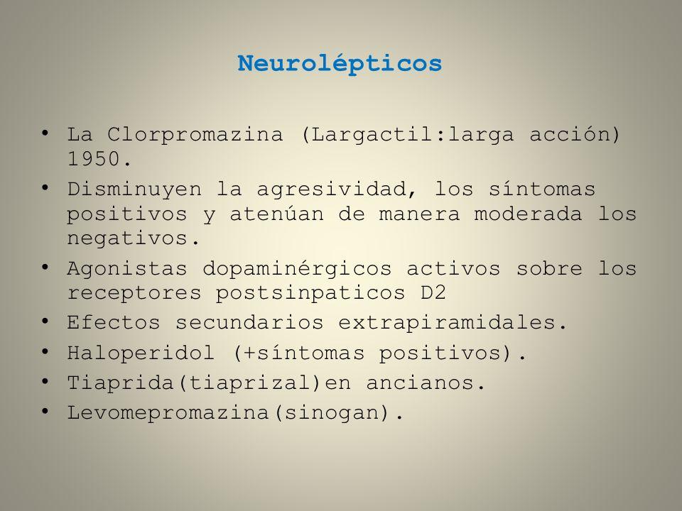 Neurolépticos La Clorpromazina (Largactil:larga acción) 1950. Disminuyen la agresividad, los síntomas positivos y atenúan de manera moderada los negat