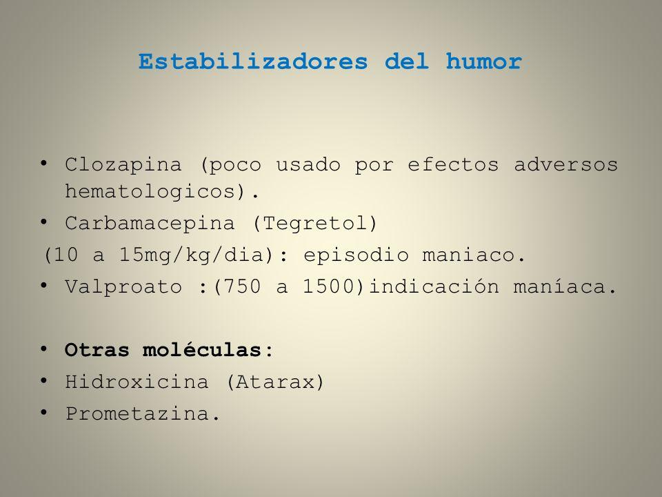 Estabilizadores del humor Clozapina (poco usado por efectos adversos hematologicos). Carbamacepina (Tegretol) (10 a 15mg/kg/dia): episodio maniaco. Va