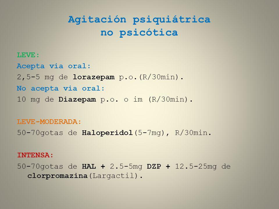 Agitación psiquiátrica no psicótica LEVE: Acepta via oral: 2,5-5 mg de lorazepam p.o.(R/30min). No acepta via oral: 10 mg de Diazepam p.o. o im (R/30m