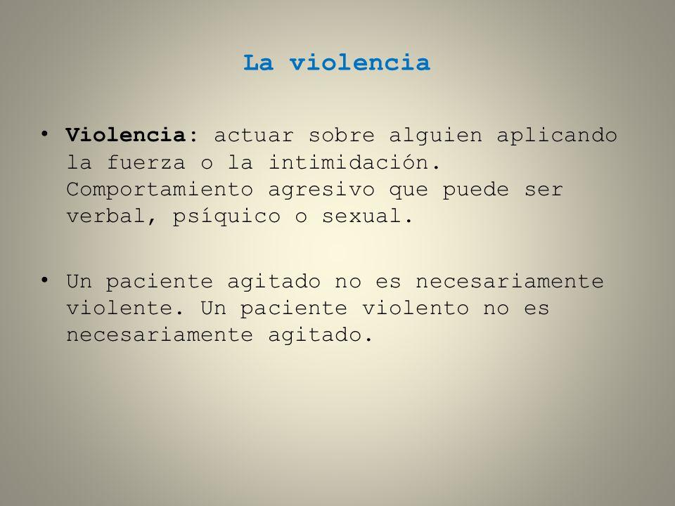 La violencia Violencia: actuar sobre alguien aplicando la fuerza o la intimidación. Comportamiento agresivo que puede ser verbal, psíquico o sexual. U