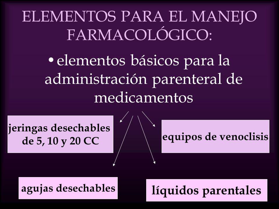 ELEMENTOS PARA EL MANEJO FARMACOLÓGICO: elementos básicos para la administración parenteral de medicamentos líquidos parentales agujas desechables equipos de venoclisis jeringas desechables de 5, 10 y 20 CC