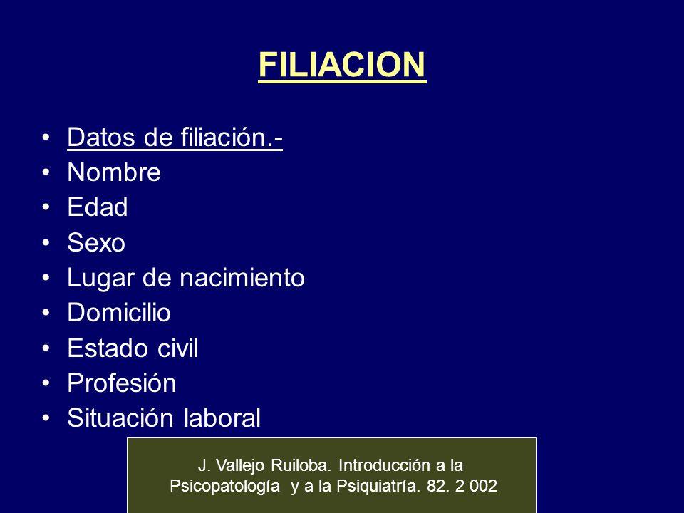 FILIACION Datos de filiación.- Nombre Edad Sexo Lugar de nacimiento Domicilio Estado civil Profesión Situación laboral J. Vallejo Ruiloba. Introducció