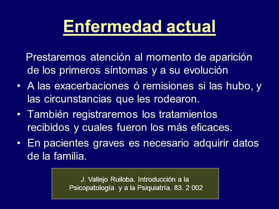 Enfermedad actual Prestaremos atención al momento de aparición de los primeros síntomas y a su evolución A las exacerbaciones ó remisiones si las hubo