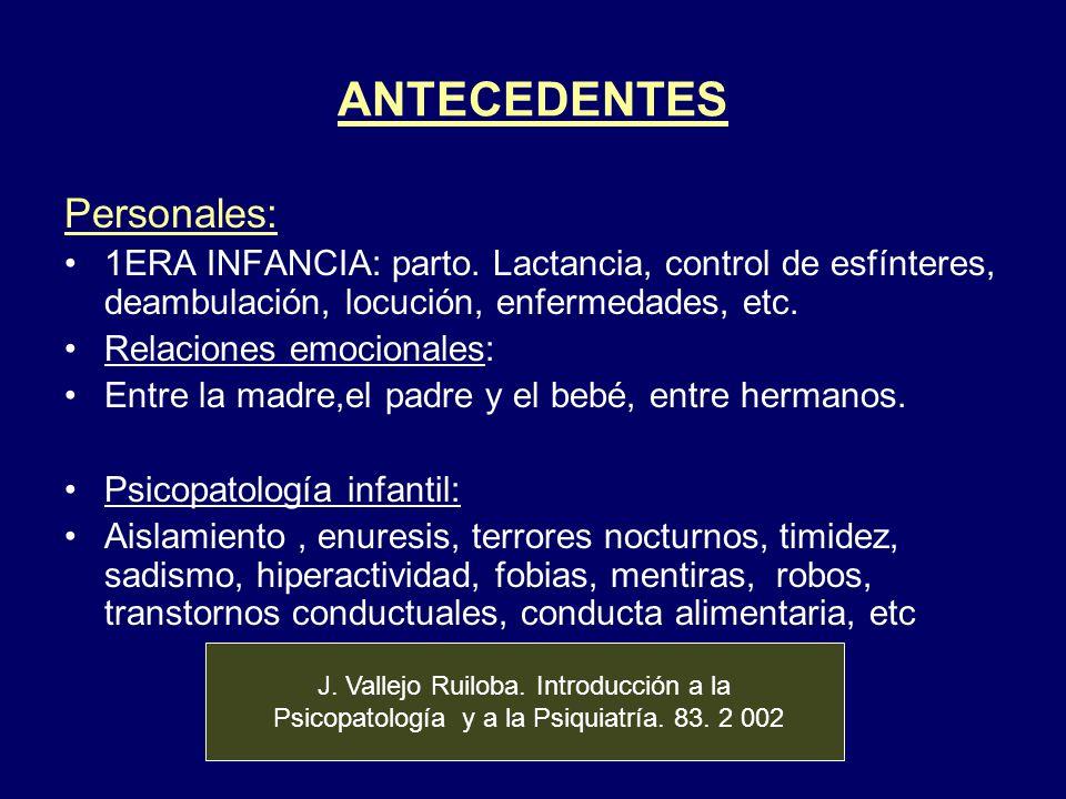 ANTECEDENTES Personales: 1ERA INFANCIA: parto. Lactancia, control de esfínteres, deambulación, locución, enfermedades, etc. Relaciones emocionales: En