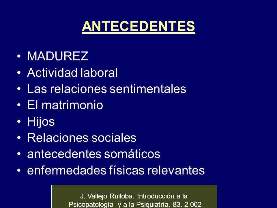 ANTECEDENTES MADUREZ Actividad laboral Las relaciones sentimentales El matrimonio Hijos Relaciones sociales antecedentes somáticos enfermedades física