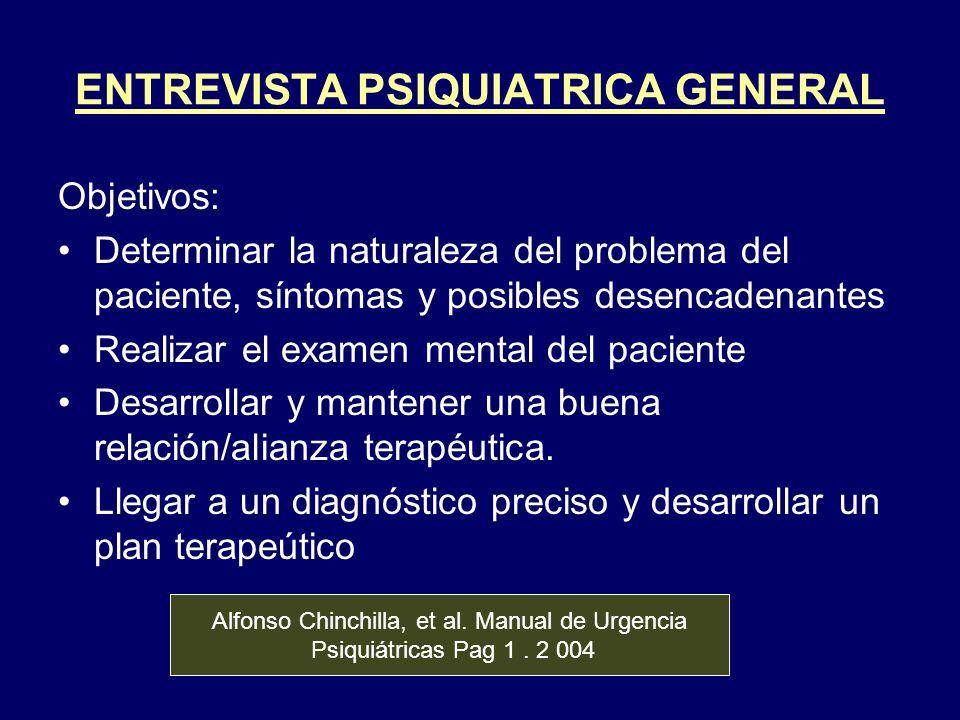 ENTREVISTA PSIQUIATRICA GENERAL Objetivos: Determinar la naturaleza del problema del paciente, síntomas y posibles desencadenantes Realizar el examen
