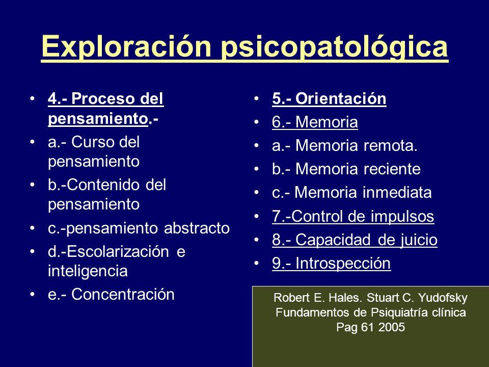 Exploración psicopatológica 4.- Proceso del pensamiento.- a.- Curso del pensamiento b.-Contenido del pensamiento c.-pensamiento abstracto d.-Escolariz