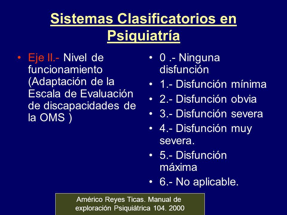 Sistemas Clasificatorios en Psiquiatría Eje II.- Nivel de funcionamiento (Adaptación de la Escala de Evaluación de discapacidades de la OMS ) 0.- Ning
