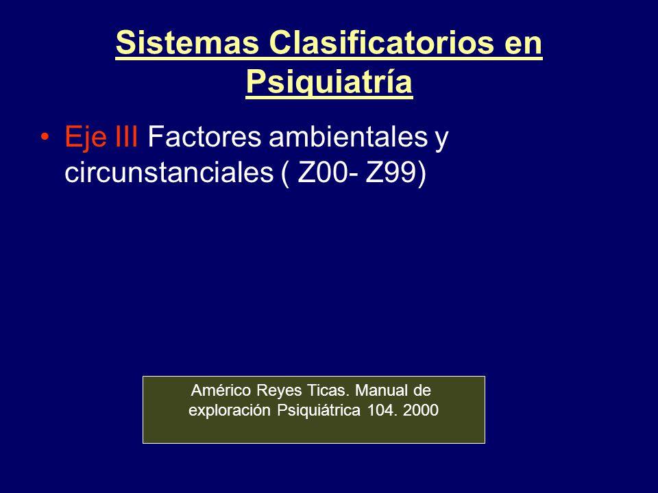 Sistemas Clasificatorios en Psiquiatría Eje III Factores ambientales y circunstanciales ( Z00- Z99) Américo Reyes Ticas. Manual de exploración Psiquiá