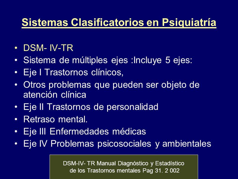 Sistemas Clasificatorios en Psiquiatría DSM- IV-TR Sistema de múltiples ejes :Incluye 5 ejes: Eje I Trastornos clínicos, Otros problemas que pueden se
