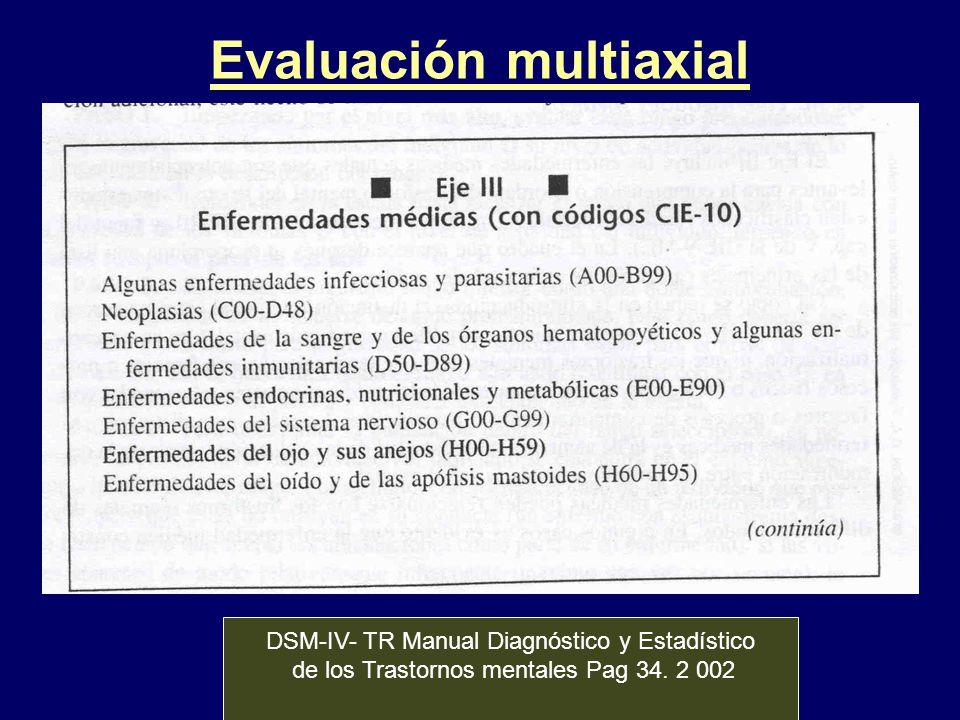 Evaluación multiaxial DSM-IV- TR Manual Diagnóstico y Estadístico de los Trastornos mentales Pag 34. 2 002