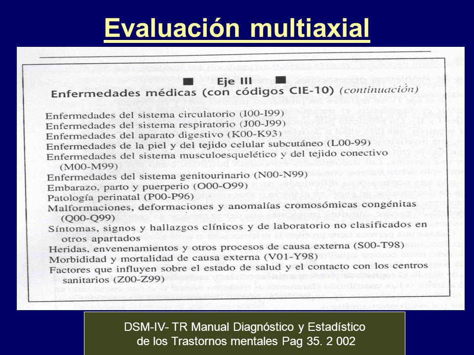 Evaluación multiaxial DSM-IV- TR Manual Diagnóstico y Estadístico de los Trastornos mentales Pag 35. 2 002