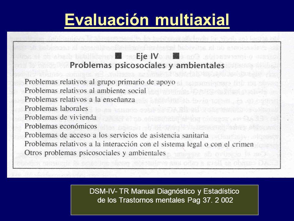 Evaluación multiaxial DSM-IV- TR Manual Diagnóstico y Estadístico de los Trastornos mentales Pag 37. 2 002