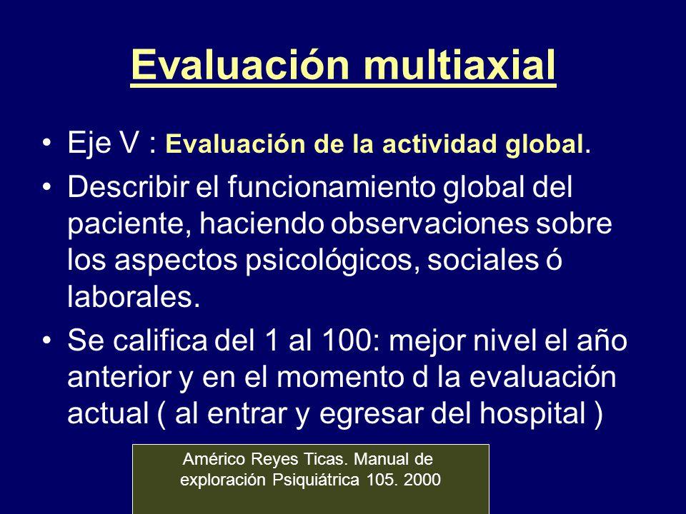 Evaluación multiaxial Eje V : Evaluación de la actividad global. Describir el funcionamiento global del paciente, haciendo observaciones sobre los asp