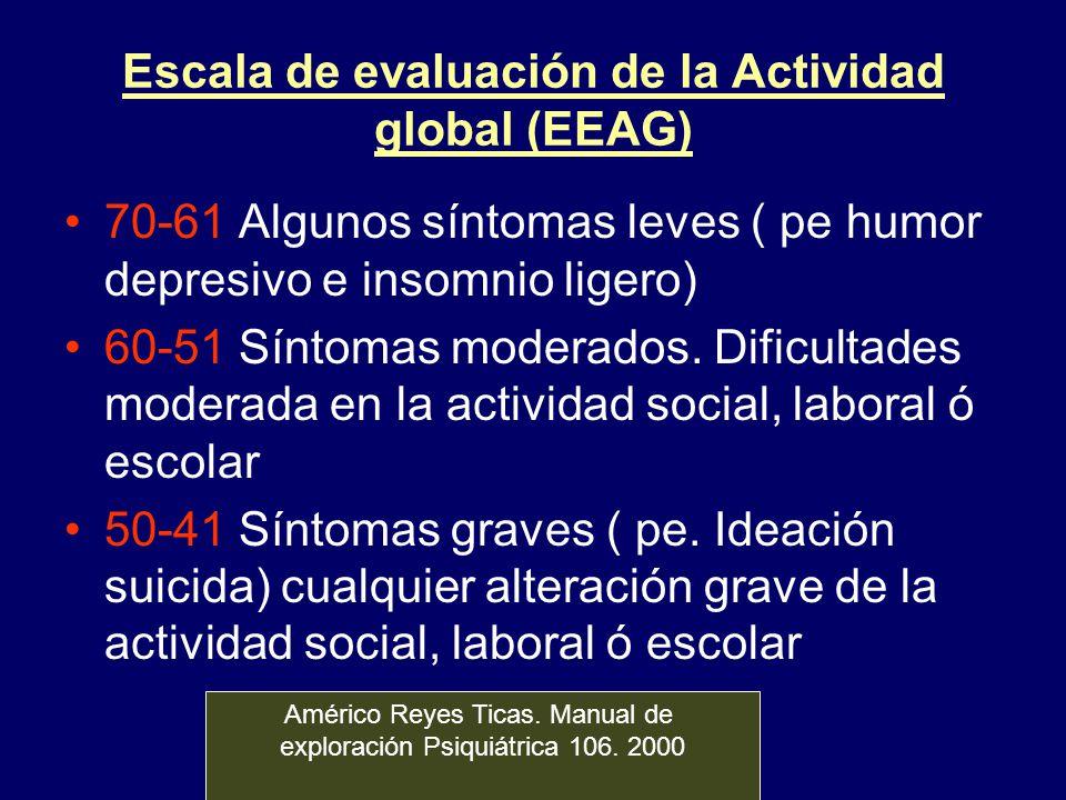 Escala de evaluación de la Actividad global (EEAG) 70-61 Algunos síntomas leves ( pe humor depresivo e insomnio ligero) 60-51 Síntomas moderados. Difi
