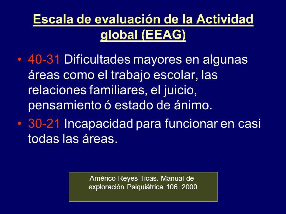 Escala de evaluación de la Actividad global (EEAG) 40-31 Dificultades mayores en algunas áreas como el trabajo escolar, las relaciones familiares, el