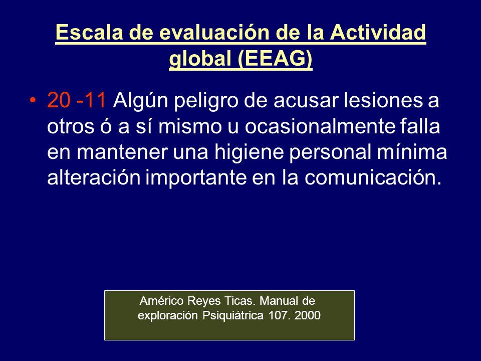 Escala de evaluación de la Actividad global (EEAG) 20 -11 Algún peligro de acusar lesiones a otros ó a sí mismo u ocasionalmente falla en mantener una