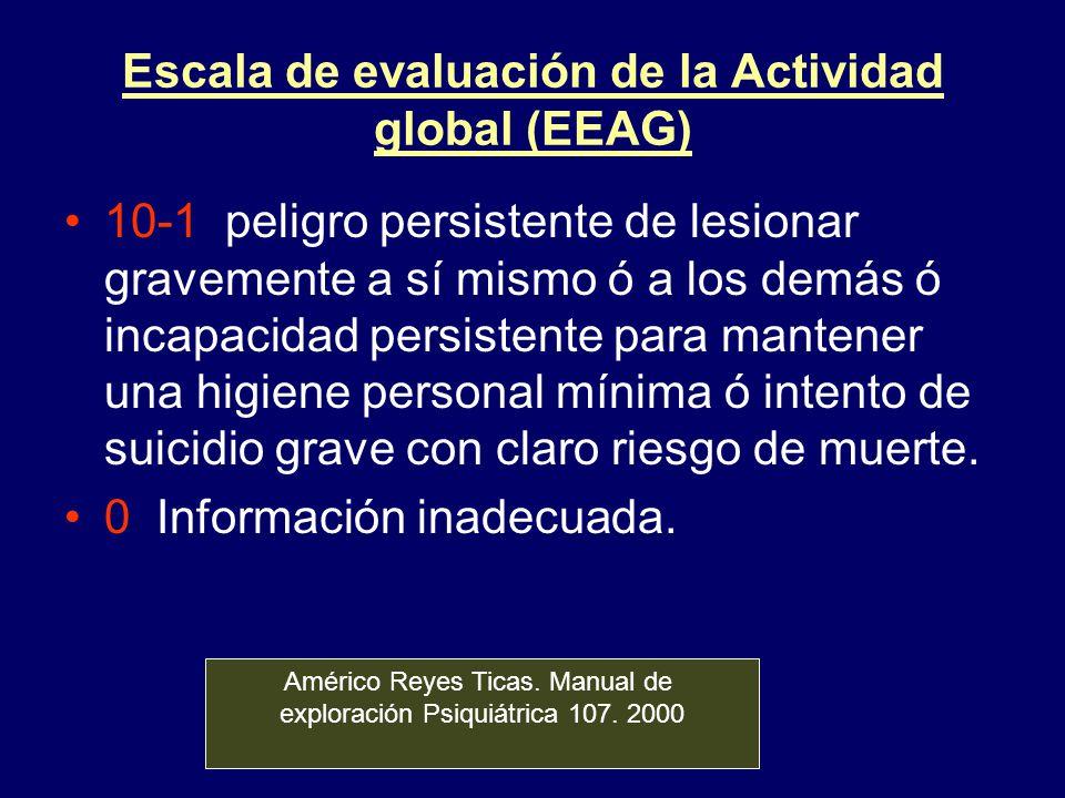 Escala de evaluación de la Actividad global (EEAG) 10-1 peligro persistente de lesionar gravemente a sí mismo ó a los demás ó incapacidad persistente