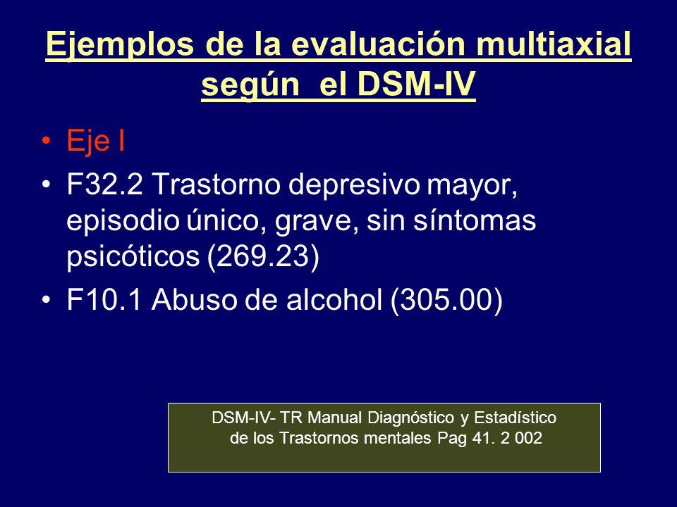 Ejemplos de la evaluación multiaxial según el DSM-IV Eje I F32.2 Trastorno depresivo mayor, episodio único, grave, sin síntomas psicóticos (269.23) F1