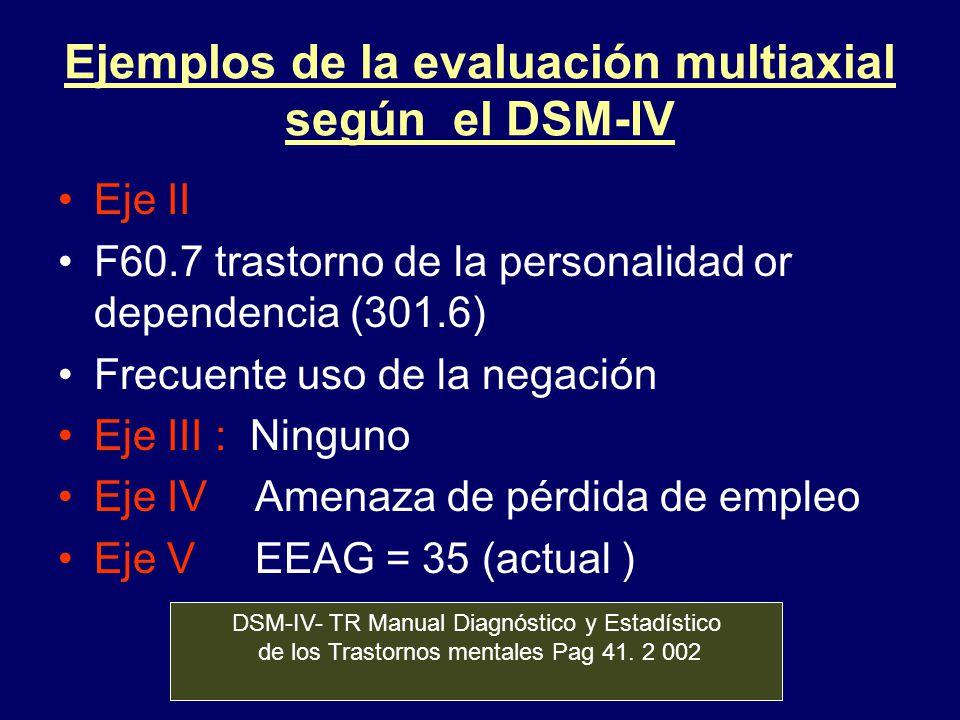 Ejemplos de la evaluación multiaxial según el DSM-IV Eje II F60.7 trastorno de la personalidad or dependencia (301.6) Frecuente uso de la negación Eje