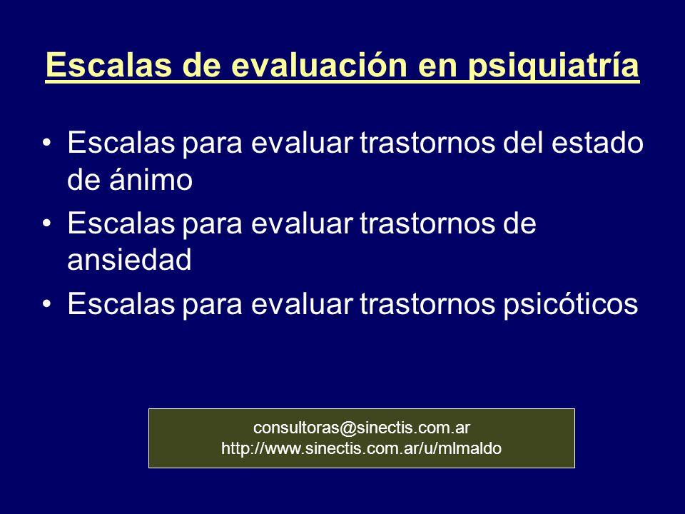 Escalas de evaluación en psiquiatría Escalas para evaluar trastornos del estado de ánimo Escalas para evaluar trastornos de ansiedad Escalas para eval