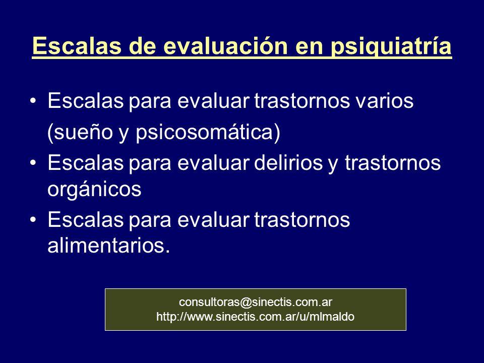 Escalas de evaluación en psiquiatría Escalas para evaluar trastornos varios (sueño y psicosomática) Escalas para evaluar delirios y trastornos orgánic