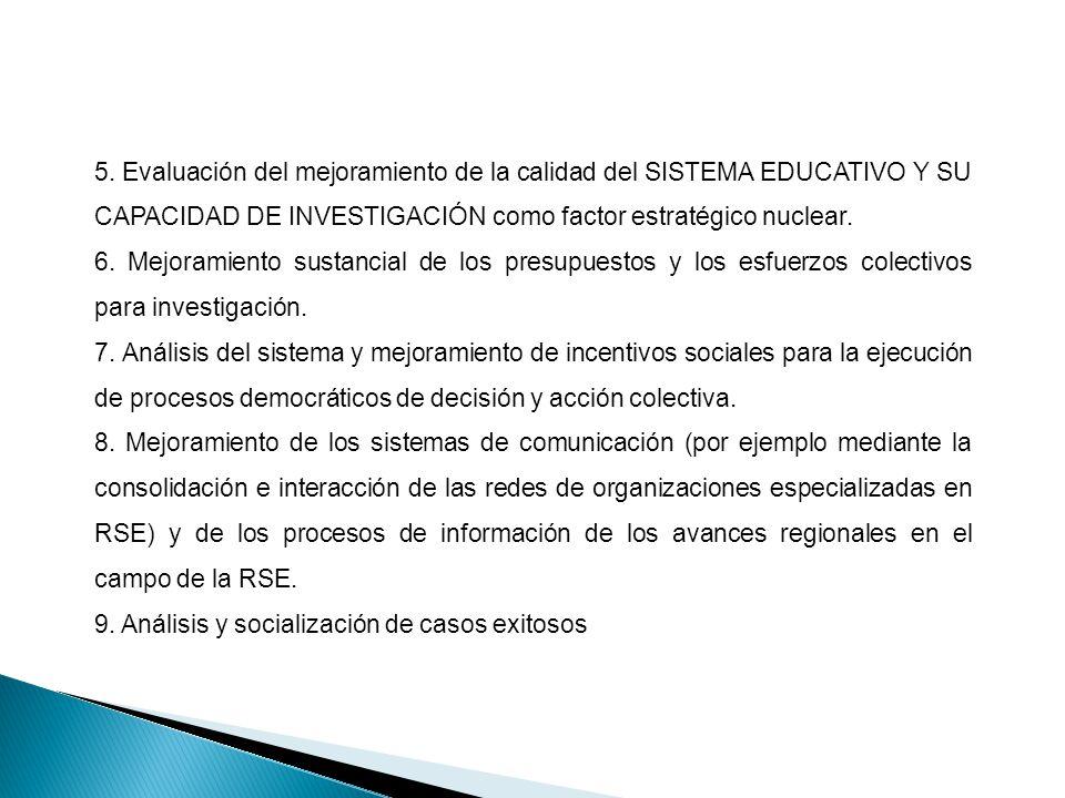 5. Evaluación del mejoramiento de la calidad del SISTEMA EDUCATIVO Y SU CAPACIDAD DE INVESTIGACIÓN como factor estratégico nuclear. 6. Mejoramiento su