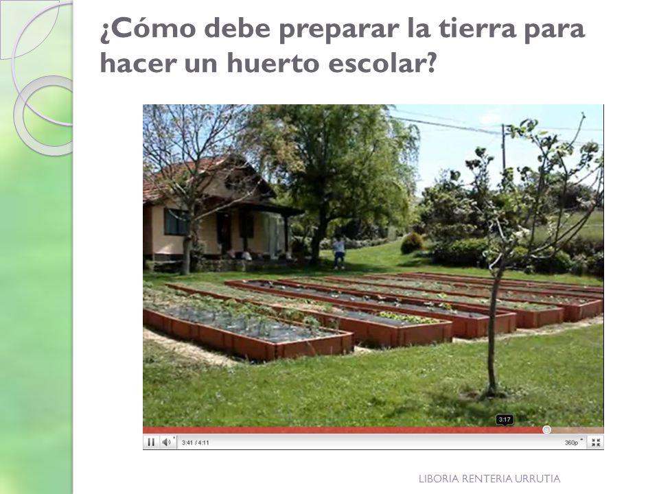 LIBORIA RENTERIA URRUTIA ¿Cómo debe preparar la tierra para hacer un huerto escolar?