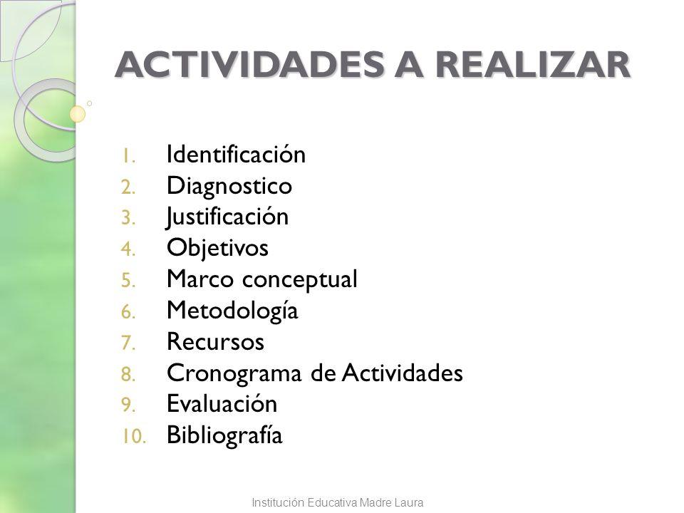 ACTIVIDADES A REALIZAR 1. Identificación 2. Diagnostico 3. Justificación 4. Objetivos 5. Marco conceptual 6. Metodología 7. Recursos 8. Cronograma de