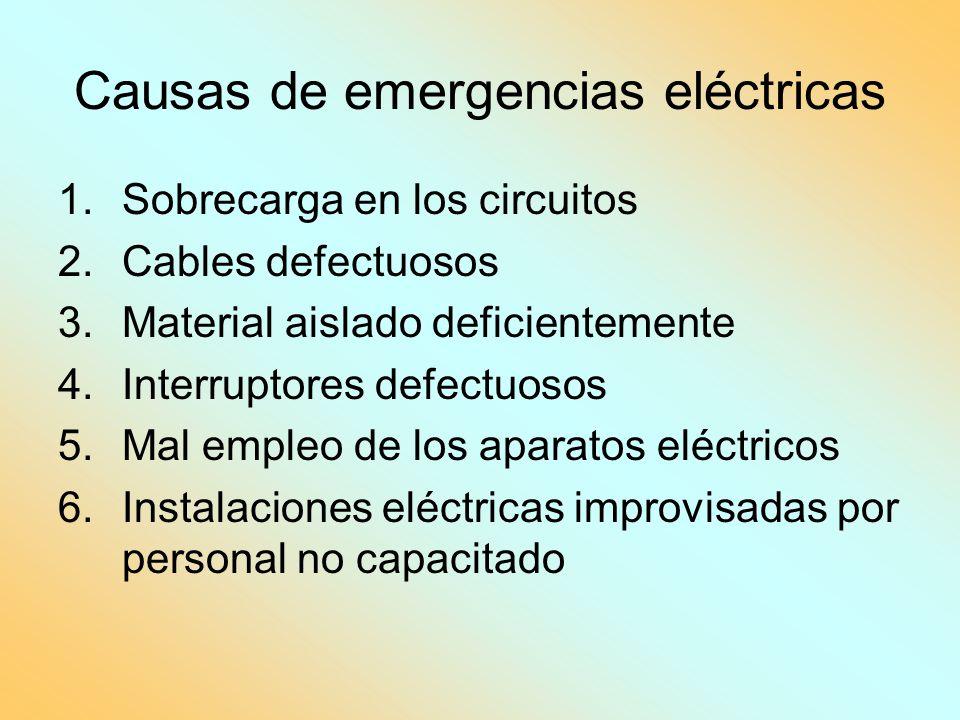 Causas de emergencias eléctricas 1.Sobrecarga en los circuitos 2.Cables defectuosos 3.Material aislado deficientemente 4.Interruptores defectuosos 5.M