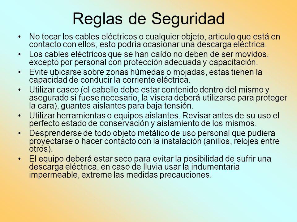 Reglas de Seguridad No tocar los cables eléctricos o cualquier objeto, articulo que está en contacto con ellos, esto podría ocasionar una descarga elé
