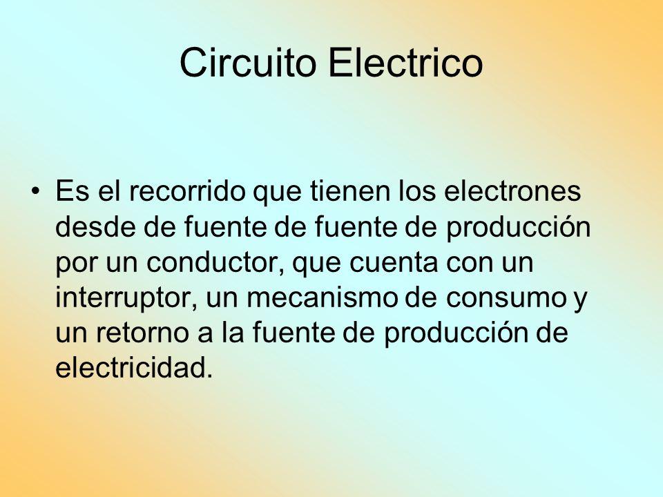 Circuito Electrico Es el recorrido que tienen los electrones desde de fuente de fuente de producción por un conductor, que cuenta con un interruptor,