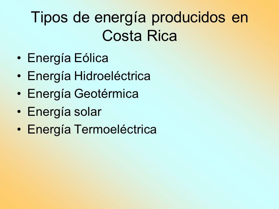Tipos de energía producidos en Costa Rica Energía Eólica Energía Hidroeléctrica Energía Geotérmica Energía solar Energía Termoeléctrica