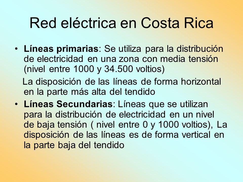 Red eléctrica en Costa Rica Líneas primarias: Se utiliza para la distribución de electricidad en una zona con media tensión (nivel entre 1000 y 34.500