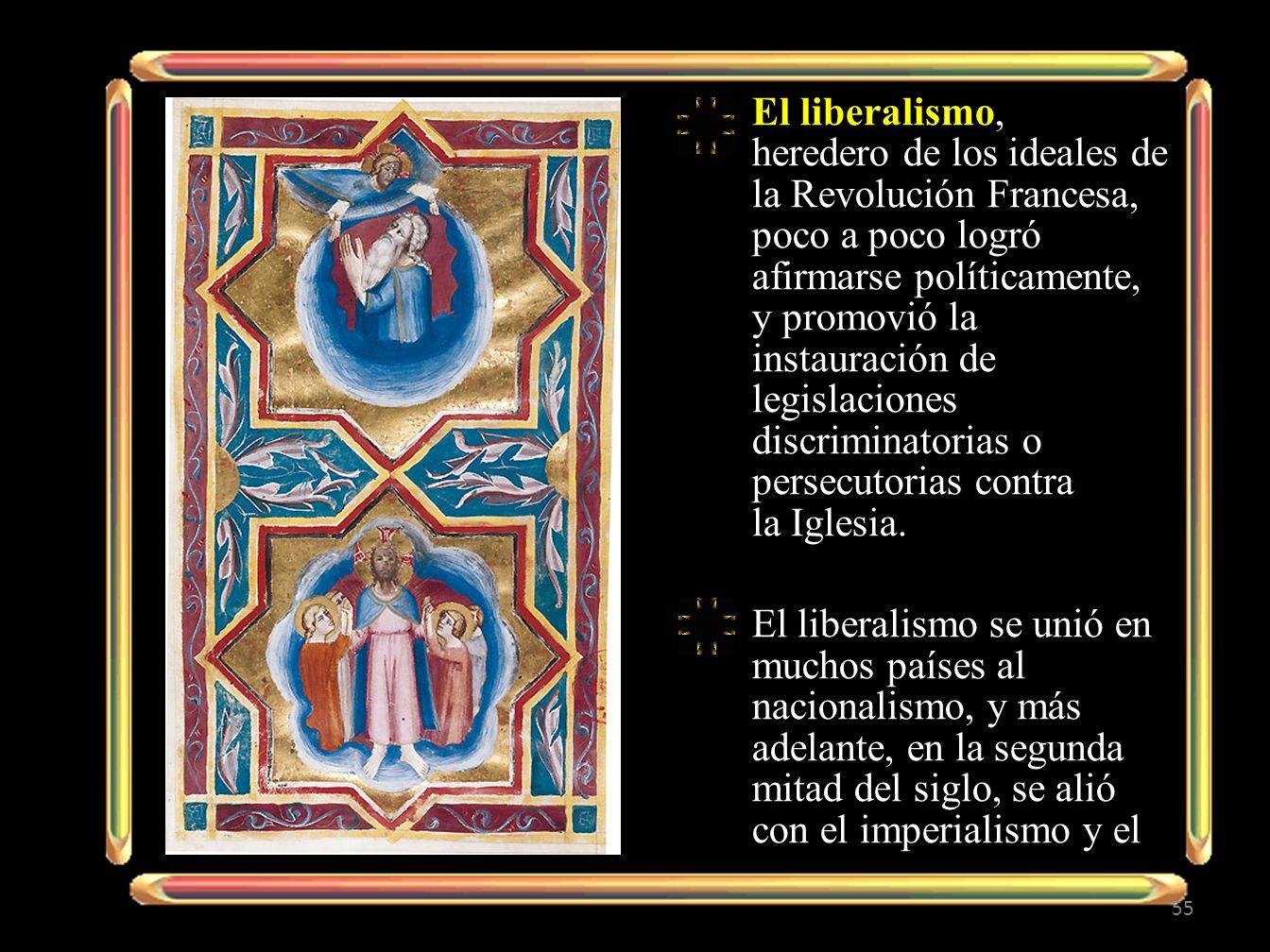 El liberalismo, heredero de los ideales de la Revolución Francesa, poco a poco logró afirmarse políticamente, y promovió la instauración de legislacio
