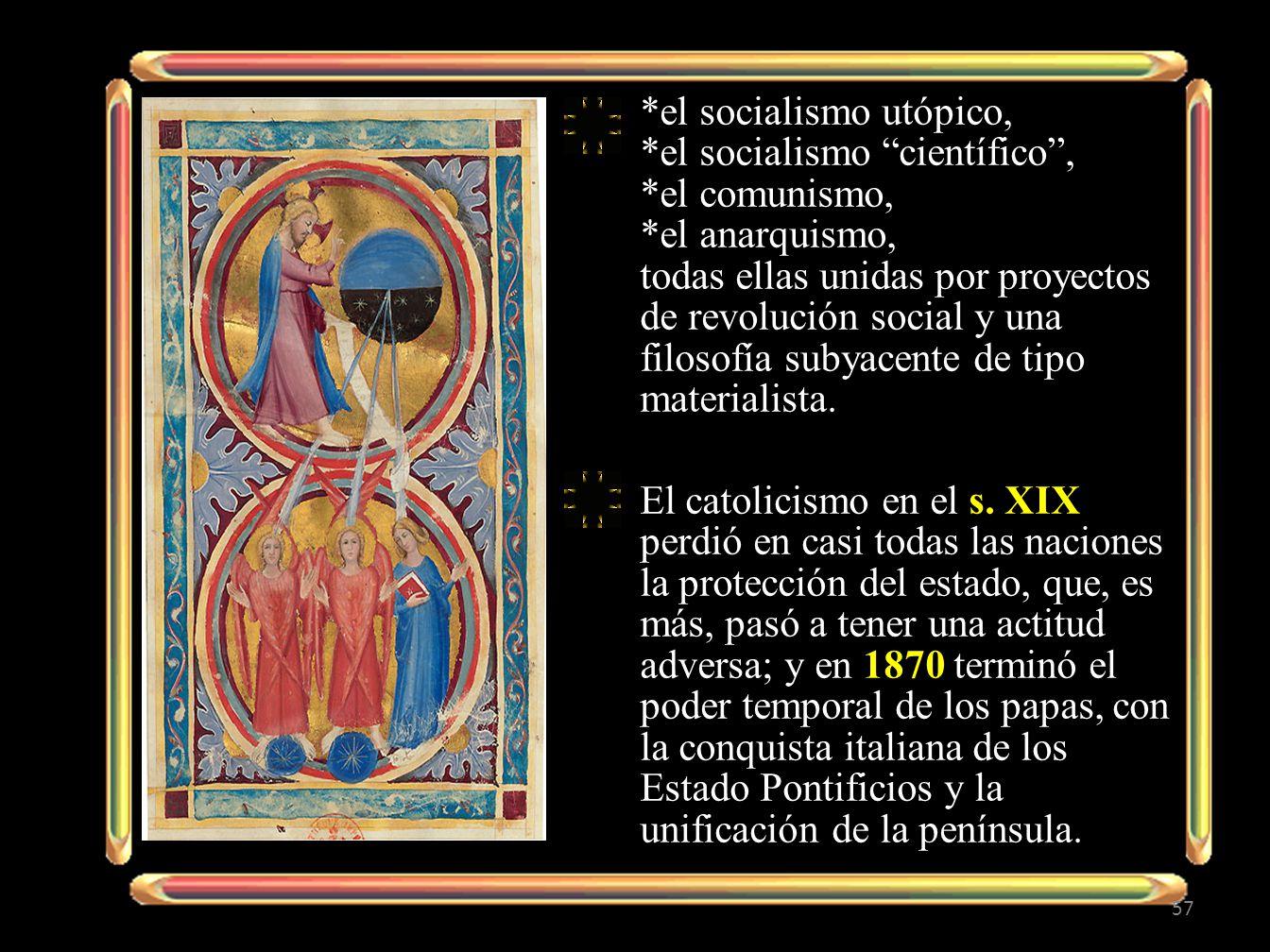 *el socialismo utópico, *el socialismo científico, *el comunismo, *el anarquismo, todas ellas unidas por proyectos de revolución social y una filosofí