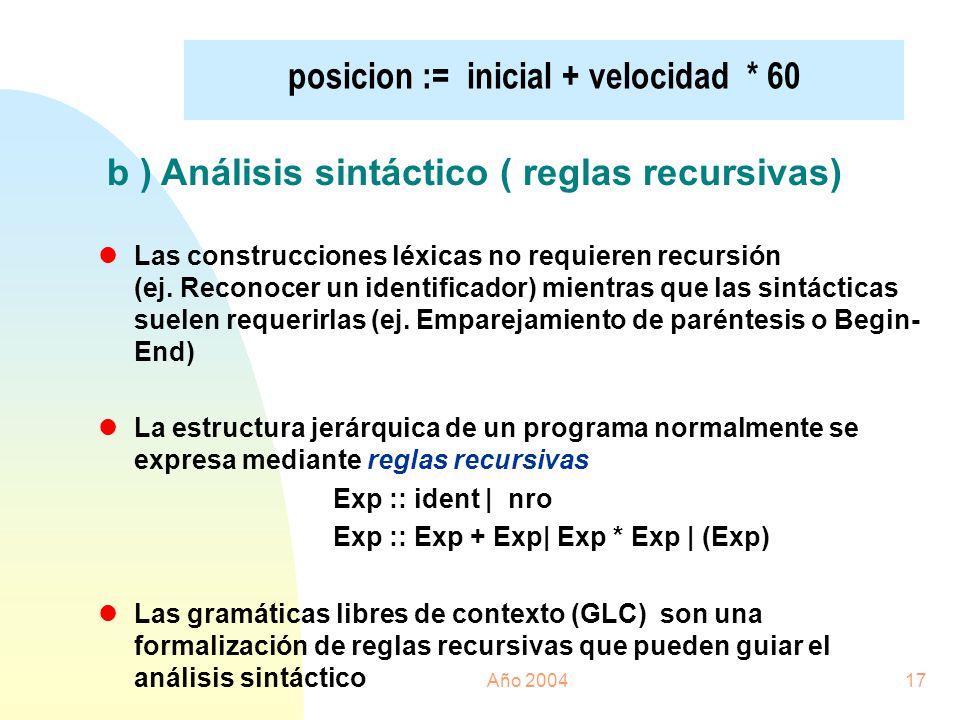 Año 200417 posicion := inicial + velocidad * 60 b ) Análisis sintáctico ( reglas recursivas) lLas construcciones léxicas no requieren recursión (ej. R