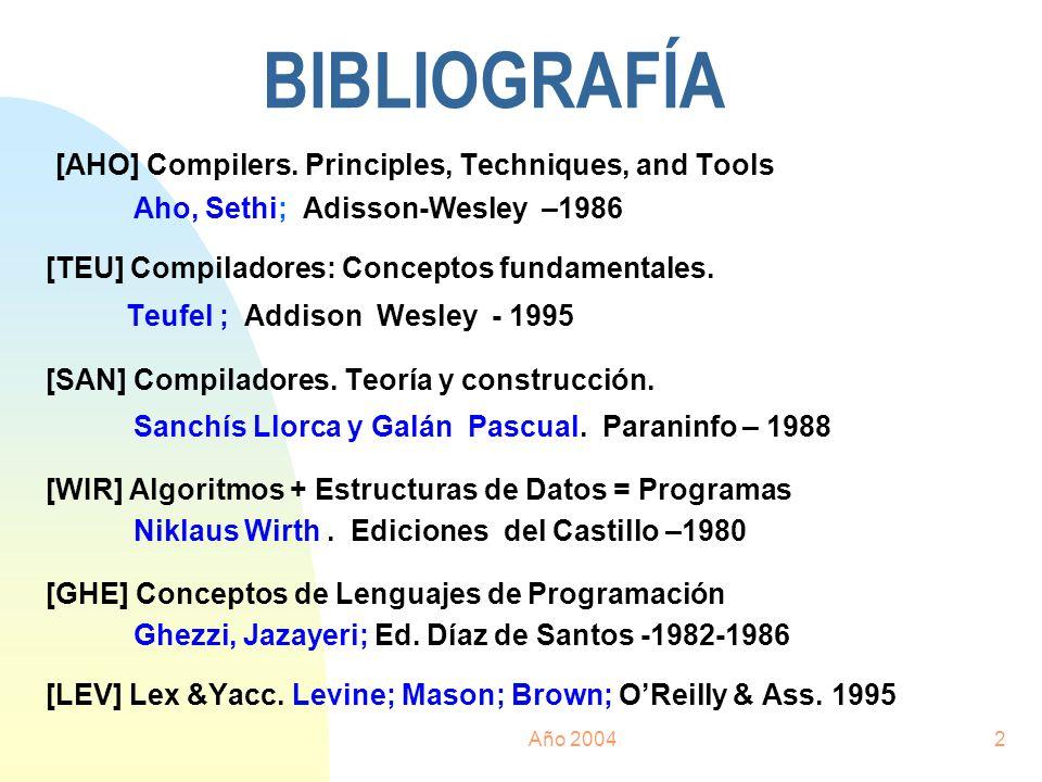 Año 20042 BIBLIOGRAFÍA [AHO] Compilers. Principles, Techniques, and Tools Aho, Sethi; Adisson-Wesley –1986 [TEU] Compiladores: Conceptos fundamentales