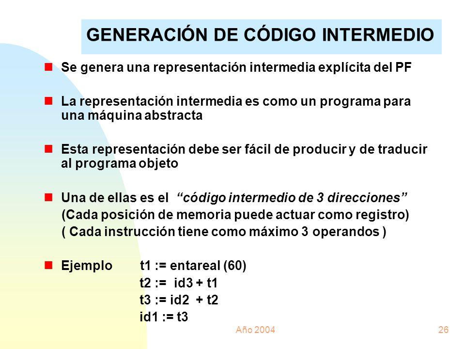 Año 200426 nSe genera una representación intermedia explícita del PF nLa representación intermedia es como un programa para una máquina abstracta nEst