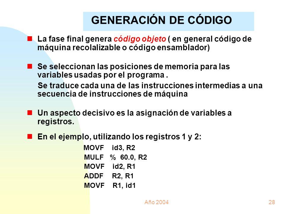 Año 200428 nLa fase final genera código objeto ( en general código de máquina recolalizable o código ensamblador) nSe seleccionan las posiciones de me