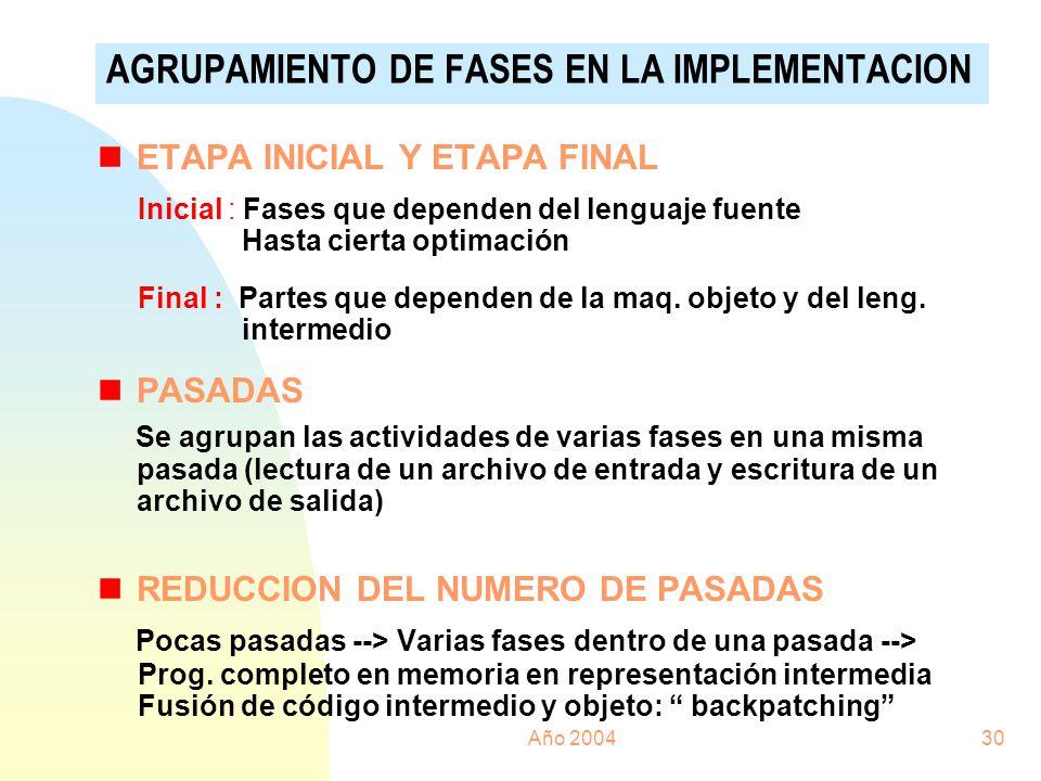 Año 200430 nETAPA INICIAL Y ETAPA FINAL Inicial : Fases que dependen del lenguaje fuente Hasta cierta optimación Final : Partes que dependen de la maq